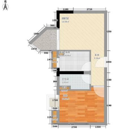 翰林1+11室0厅1卫1厨46.00㎡户型图