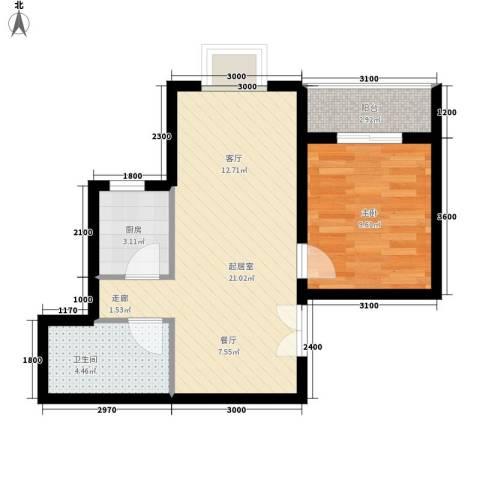 宏林尚品1室0厅1卫1厨58.00㎡户型图
