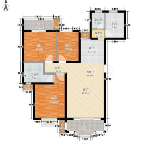 友谊嘉园3室1厅2卫1厨138.00㎡户型图