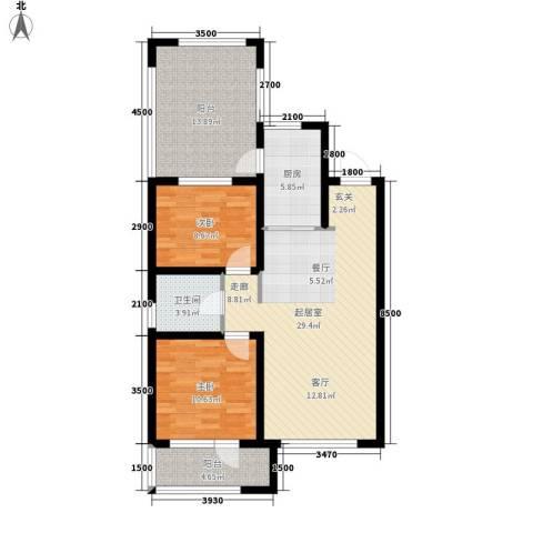 格林喜鹊花园2室0厅1卫1厨88.00㎡户型图