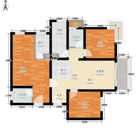 豪盛时代华城3室0厅2卫2厨123.00㎡户型图