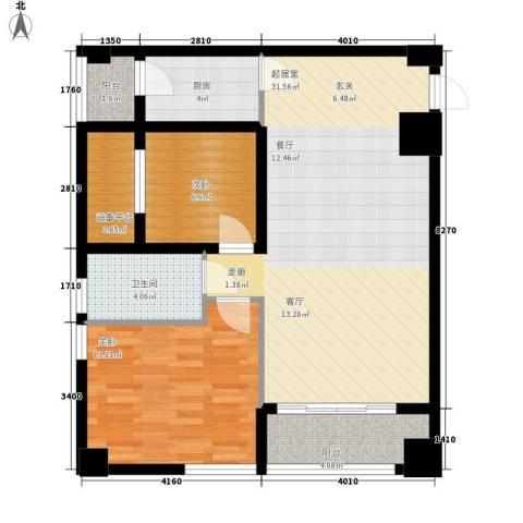 鸿基紫韵2室0厅1卫1厨95.00㎡户型图
