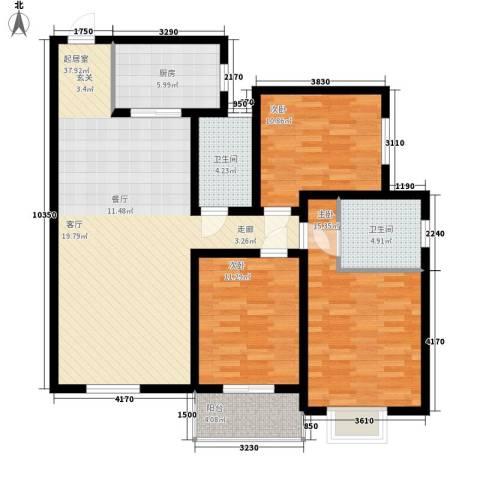 华豪丽晶3室0厅2卫1厨128.00㎡户型图