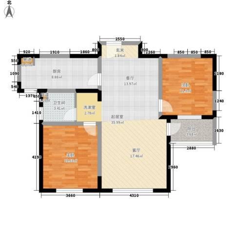 朗诗绿色街区2室0厅1卫1厨88.00㎡户型图