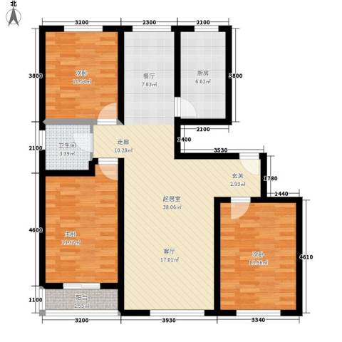 鼎盛花园3室0厅1卫1厨126.00㎡户型图