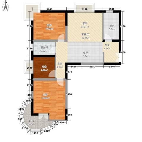 金陵世纪花园3室1厅1卫1厨109.00㎡户型图