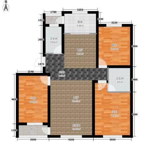 开元豪庭3室0厅2卫1厨130.00㎡户型图