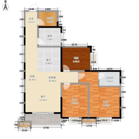城市风景都市印象3室0厅2卫1厨136.00㎡户型图