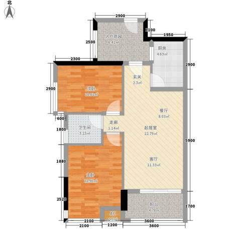 珠江花城2室0厅1卫1厨80.00㎡户型图