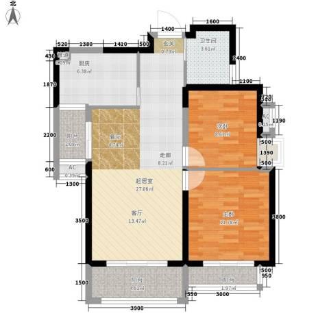 高山流水和城2室0厅1卫1厨91.00㎡户型图