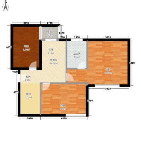 裕华名居城3室1厅1卫0厨140.00㎡户型图