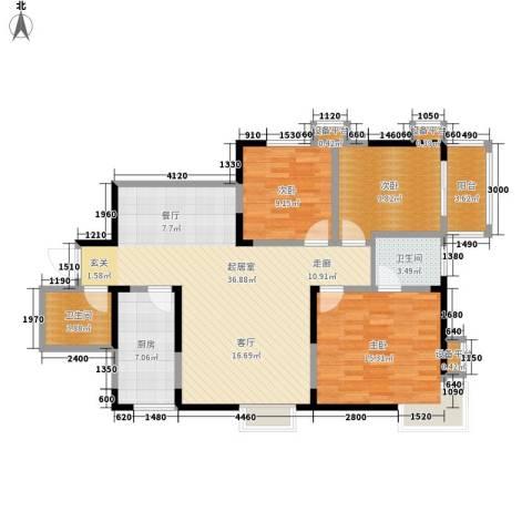 城市风景都市印象3室0厅2卫1厨120.00㎡户型图