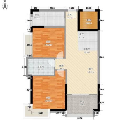 新世纪可居2室1厅1卫1厨102.00㎡户型图