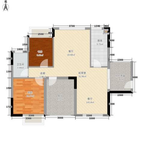 珠江花城2室0厅1卫1厨84.00㎡户型图