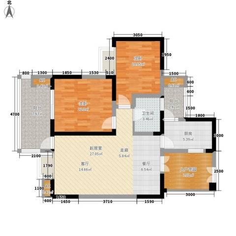 红树湾2室0厅1卫1厨86.00㎡户型图