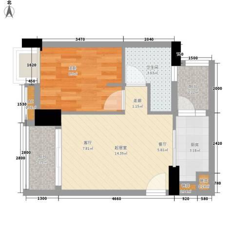 珠江花城1室0厅1卫1厨53.00㎡户型图