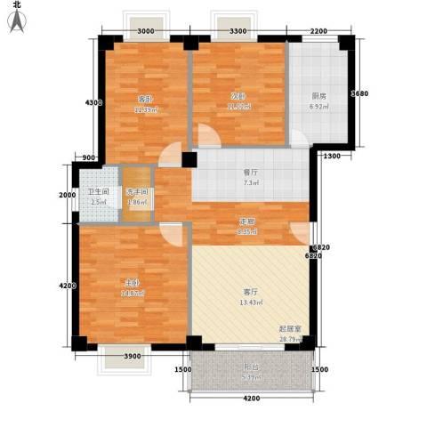 西郊花园3室0厅1卫1厨101.00㎡户型图