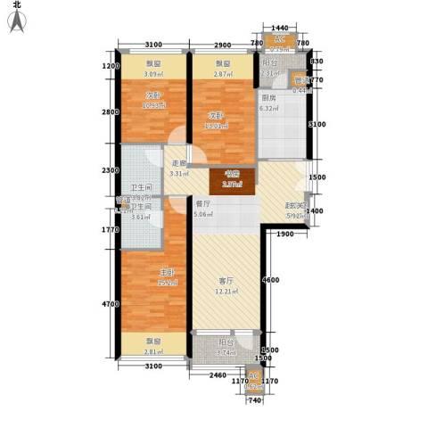 大西洋新城G区3室0厅2卫1厨128.00㎡户型图