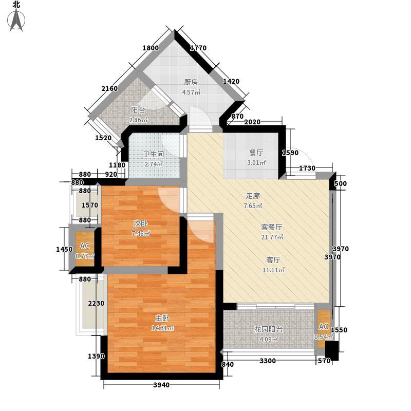 英郡79.29㎡三期1号楼2-32层D户面积7929m户型