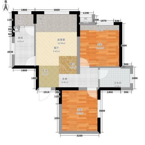 高山流水和城2室0厅1卫1厨78.00㎡户型图