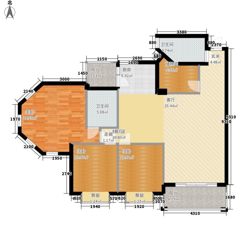 海伦堡御院123.76㎡10座二梯3层0面积12376m户型