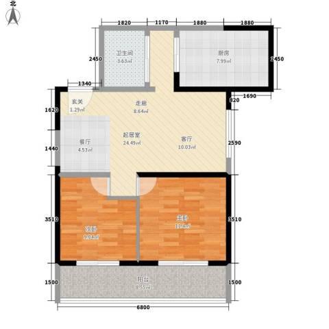 华龙佳园2室0厅1卫1厨92.00㎡户型图