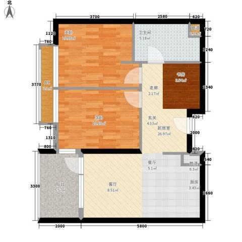 大西洋新城G区2室0厅1卫0厨88.00㎡户型图