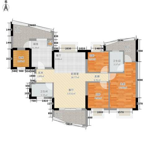 自在城市花园3室0厅2卫1厨113.00㎡户型图