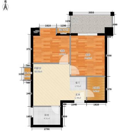 南方星座2室0厅1卫1厨72.00㎡户型图