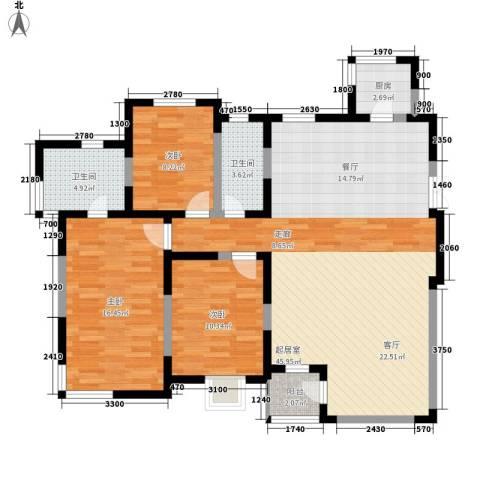 天灵小区3室0厅2卫1厨108.00㎡户型图