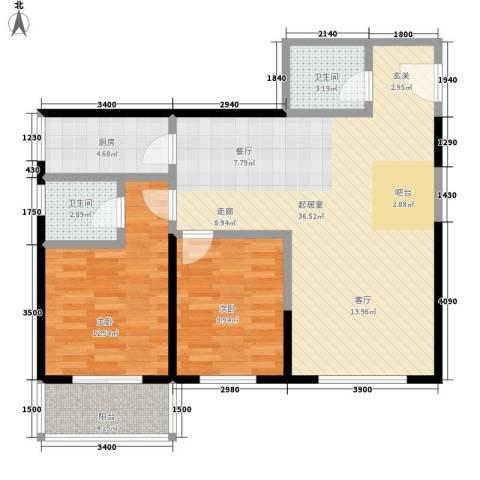华龙佳园2室0厅2卫1厨104.00㎡户型图