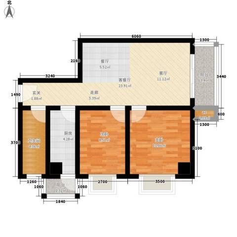 名流水晶宫2室1厅1卫1厨89.00㎡户型图