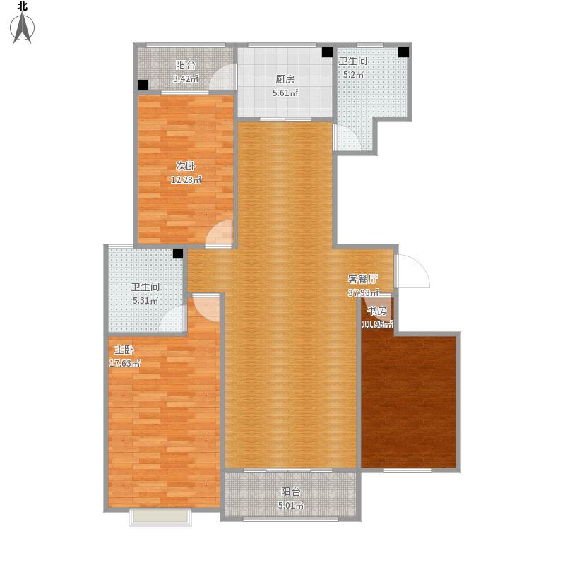 恒达御园小区136.27平方三室两厅两卫