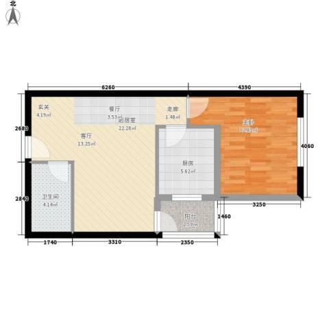 尚品格蓝1室0厅1卫1厨53.00㎡户型图