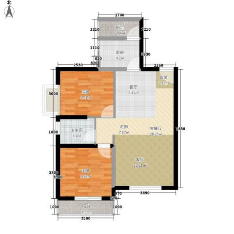 华城国际2室1厅1卫1厨86.00㎡户型图