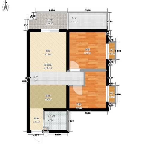 金源都市公寓2室0厅1卫1厨80.00㎡户型图