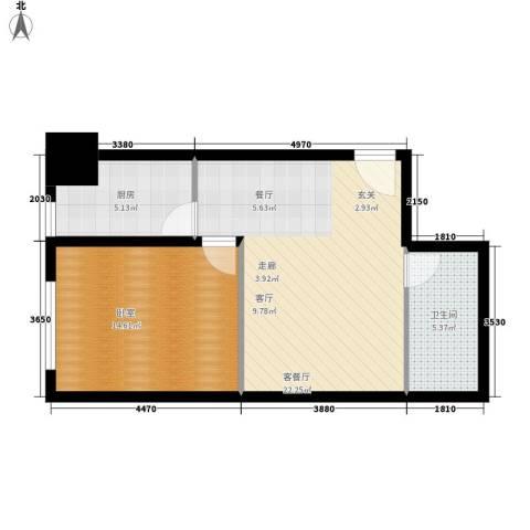 领先时代广场1厅1卫1厨55.00㎡户型图