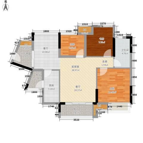 珠江花城3室0厅1卫1厨90.00㎡户型图