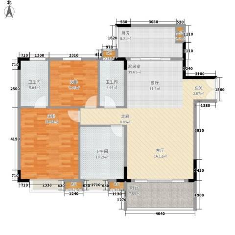 喜盈雅境2室0厅3卫1厨123.00㎡户型图