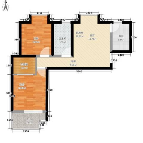 颐馨雅苑2室0厅1卫1厨76.00㎡户型图