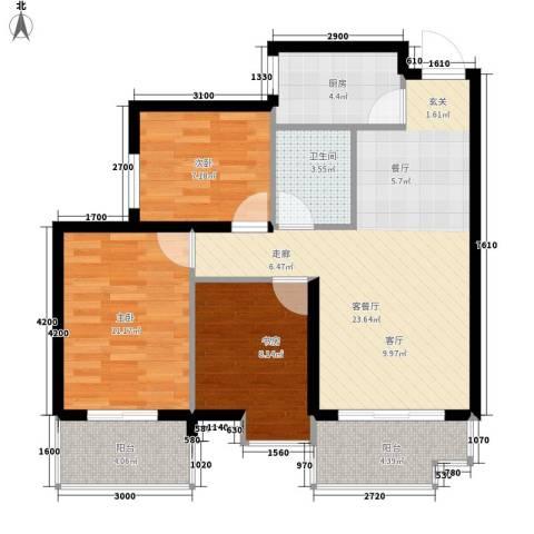 颐馨雅苑3室1厅1卫1厨94.00㎡户型图
