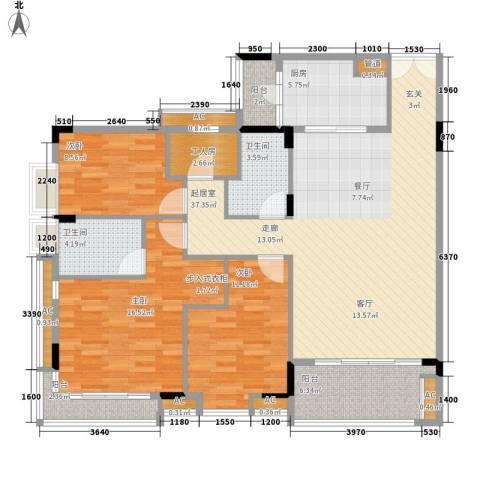 喜盈雅境3室0厅2卫1厨122.00㎡户型图
