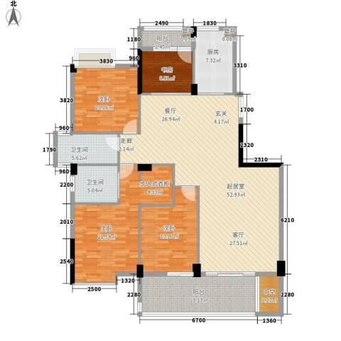 珠江花城4室0厅2卫1厨160.00㎡户型图