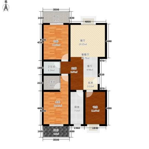 安驰国际3室1厅2卫1厨148.00㎡户型图