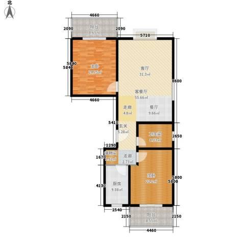 安驰国际2室1厅1卫1厨137.12㎡户型图