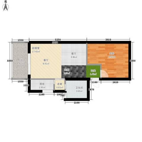 怡兴大厦1室0厅1卫1厨58.00㎡户型图