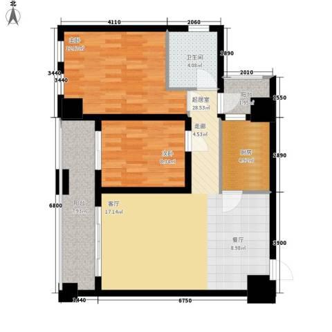 鸿基紫韵2室0厅1卫1厨91.00㎡户型图