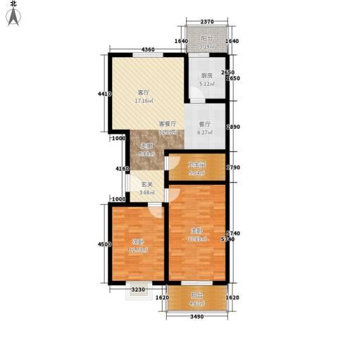 安驰国际2室1厅1卫1厨121.00㎡户型图