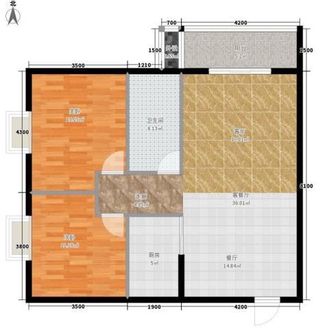 游艺村2室1厅1卫1厨106.00㎡户型图