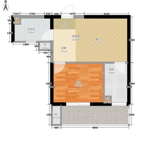 东岸阳光1室0厅1卫1厨60.00㎡户型图